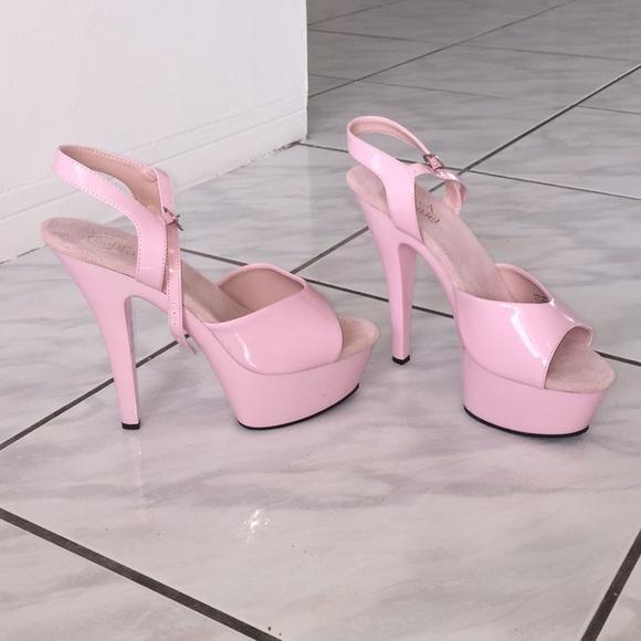"4f90417f1b97 Pleaser Kiss 6"" Platforms Baby Pink"